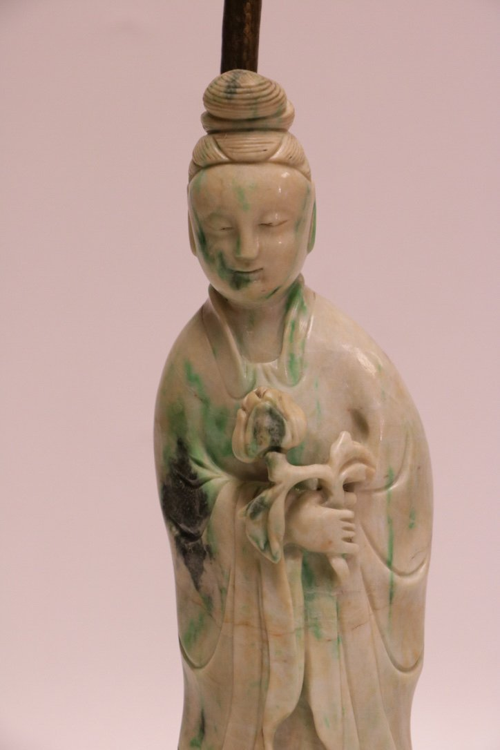 19/20th C. Chinese Jadeite Carving Lamp - 2