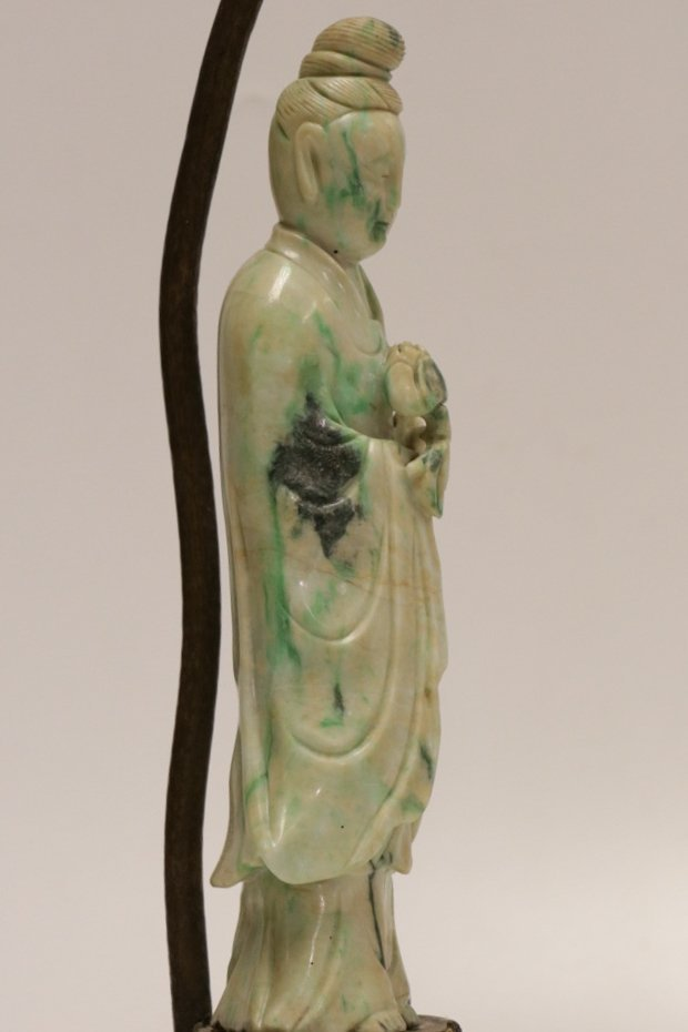 19/20th C. Chinese Jadeite Carving Lamp - 6