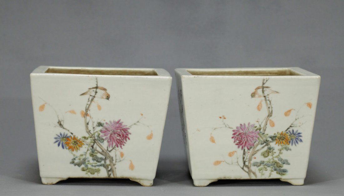 Pair of Chinese Famille Rose Porcelain Planters - 6