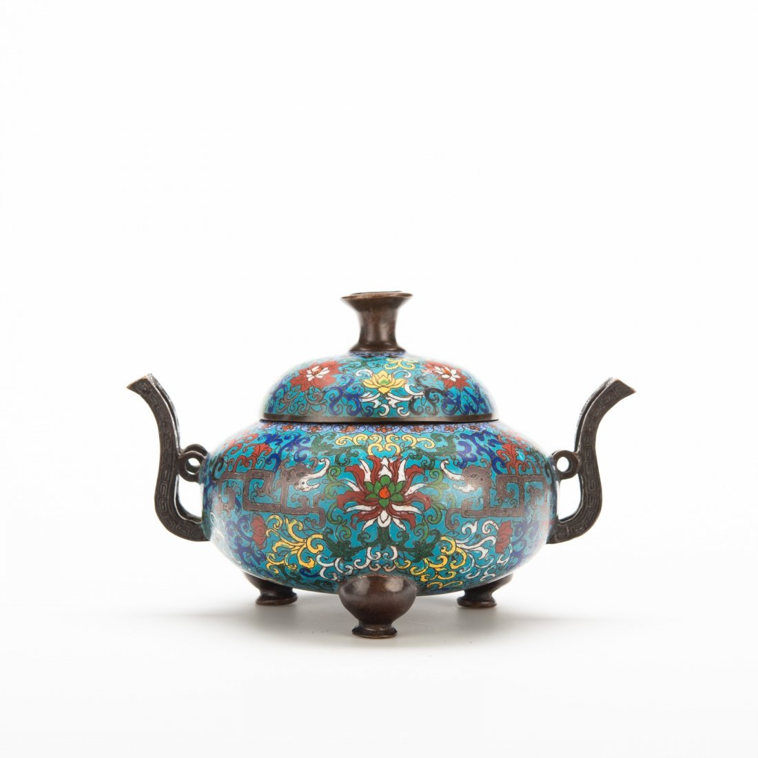 Chinese Cloisonné Tripod Censer and Cover