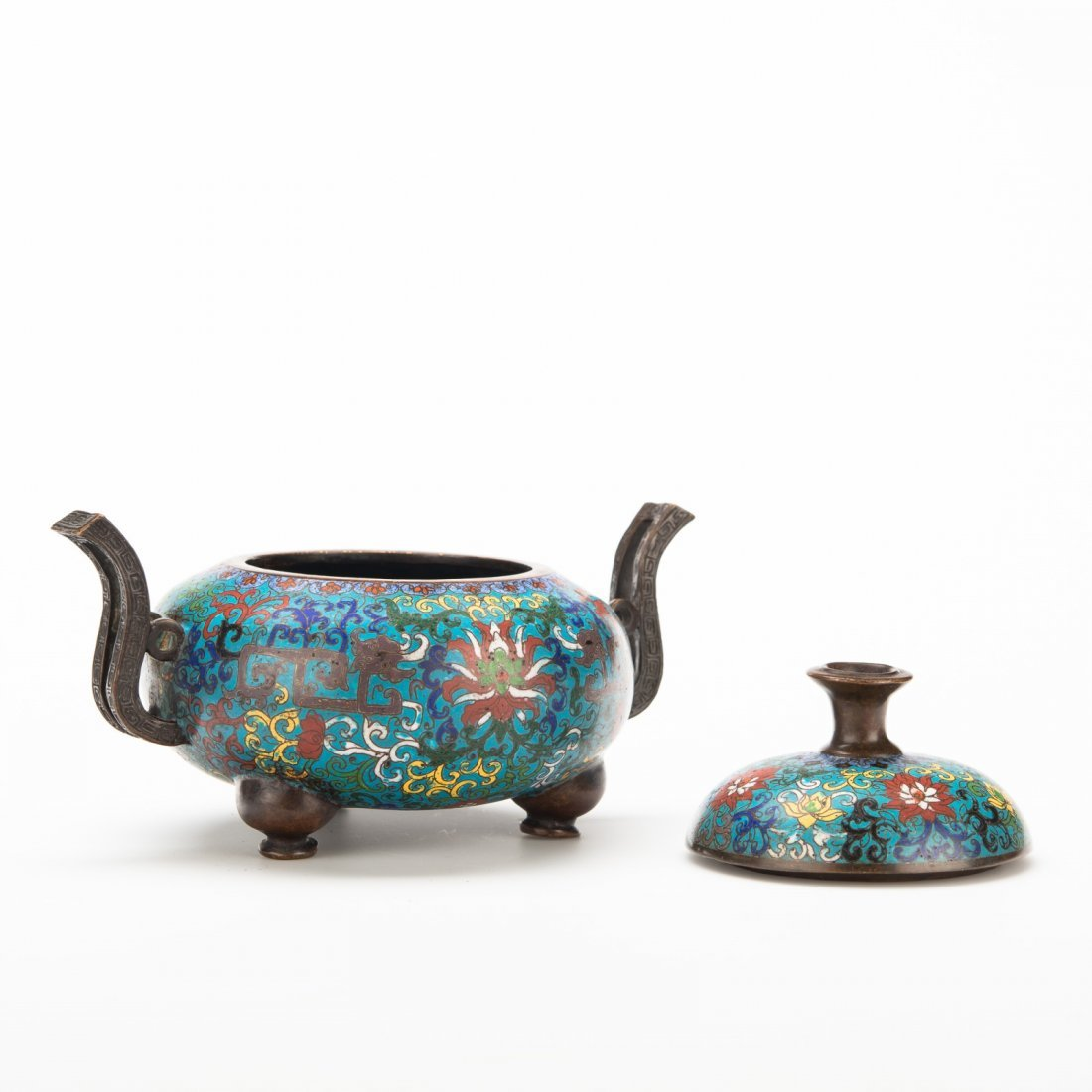 Chinese Cloisonné Tripod Censer and Cover - 2