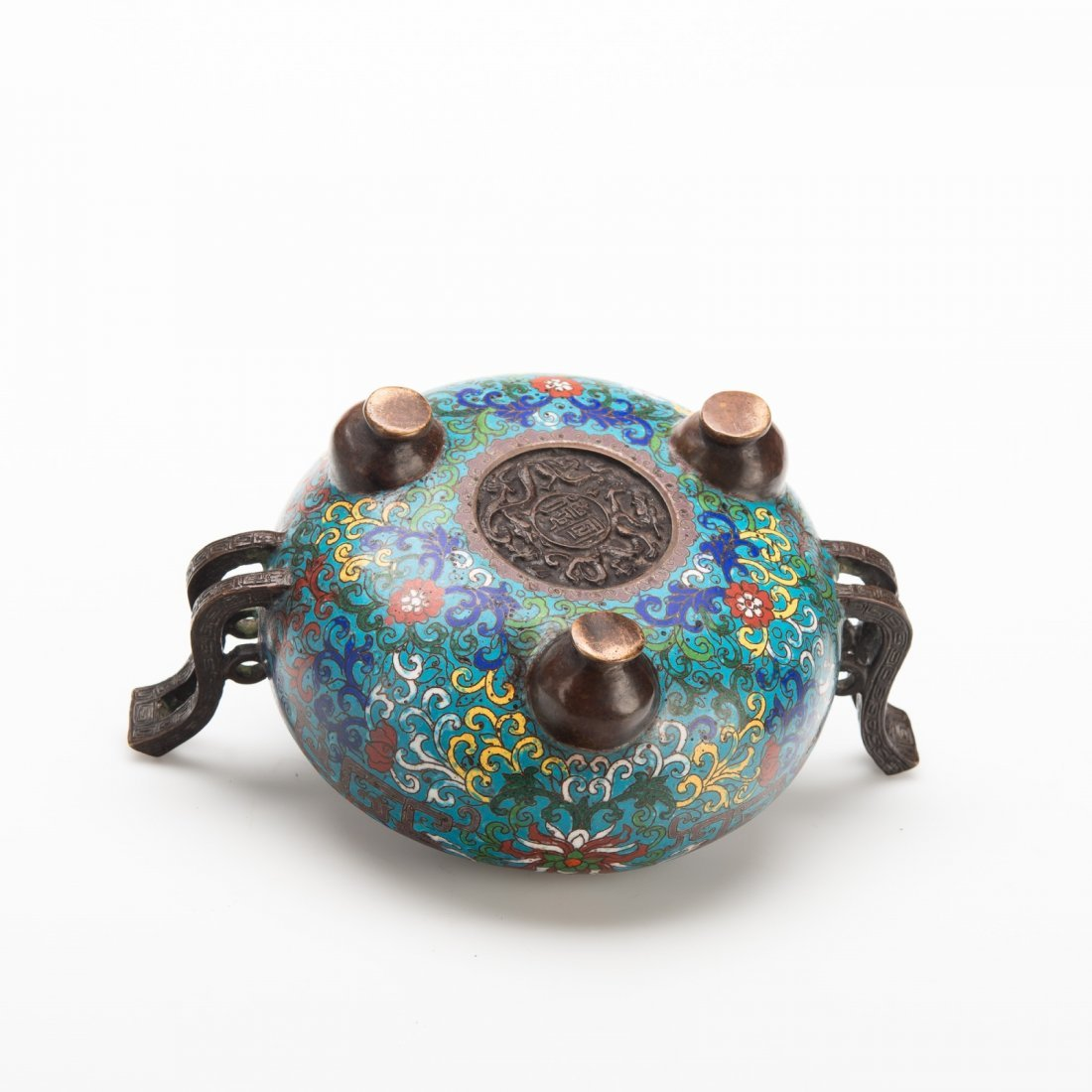 Chinese Cloisonné Tripod Censer and Cover - 3