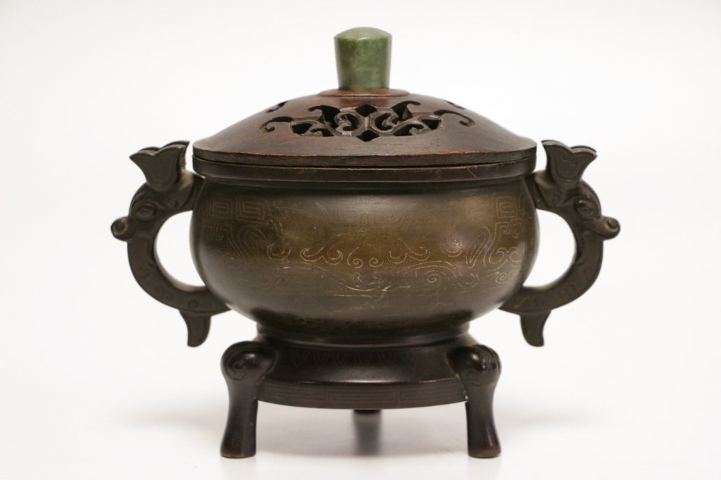 Chinese Bronze Censer w/ Wood Cover Inlaid Silver