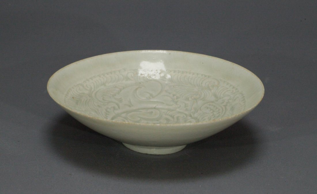 Carved Boy and Flower Pattern Ying Qing Bowl