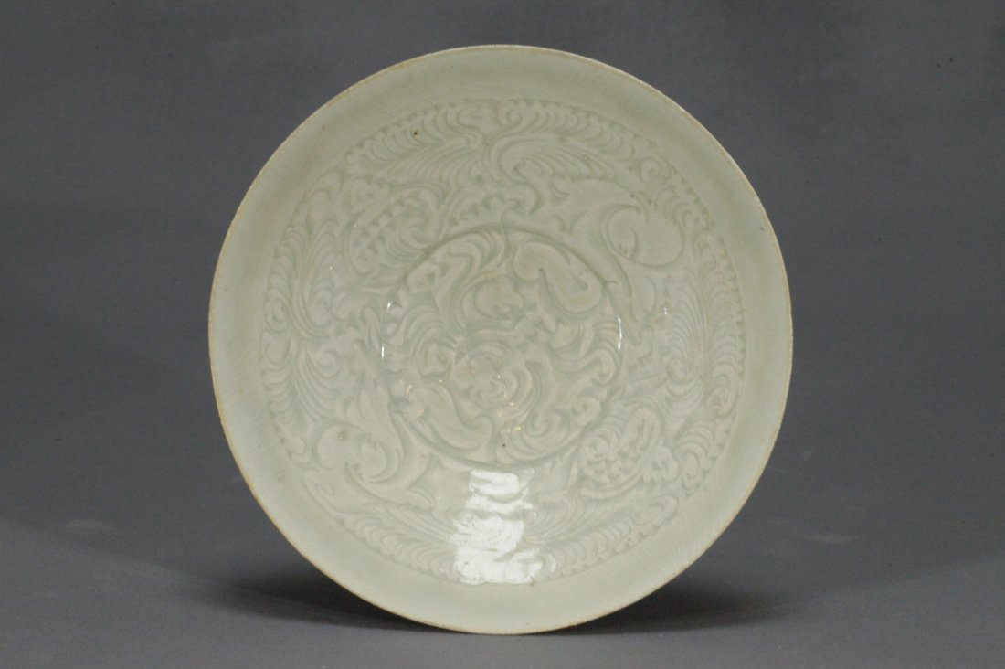 Carved Boy and Flower Pattern Ying Qing Bowl - 3