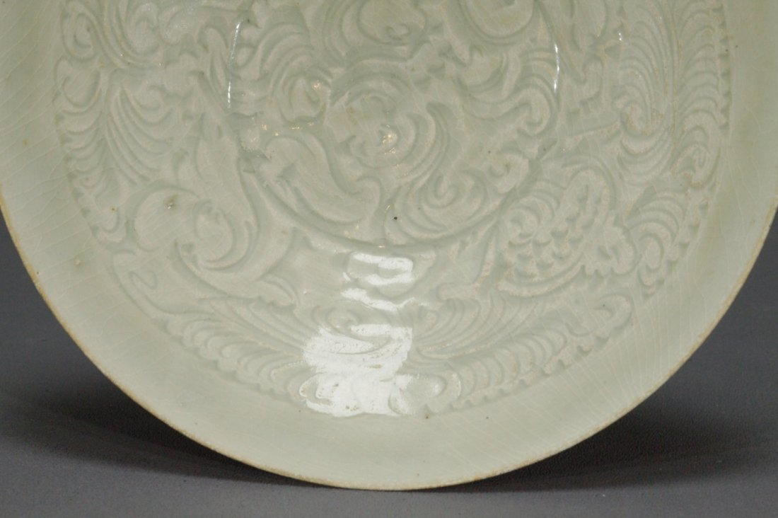 Carved Boy and Flower Pattern Ying Qing Bowl - 5