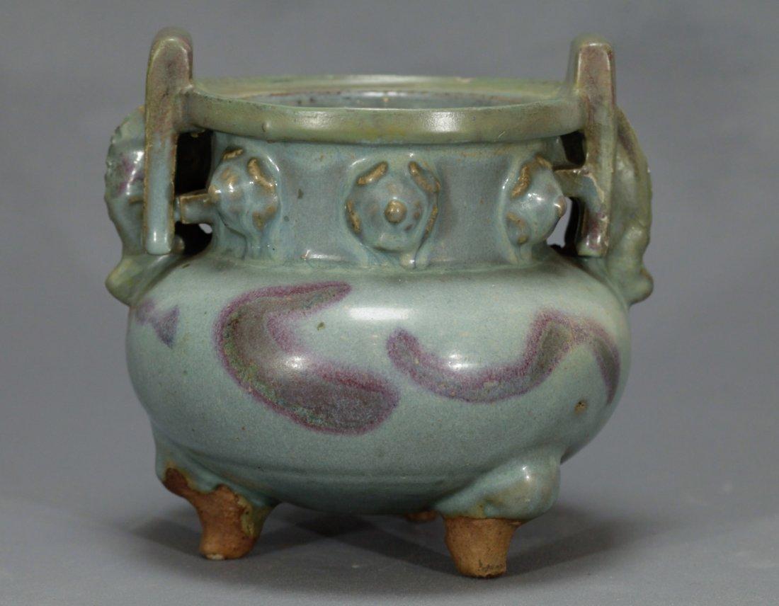 A Large Jun Glazed Incense Burner - 6