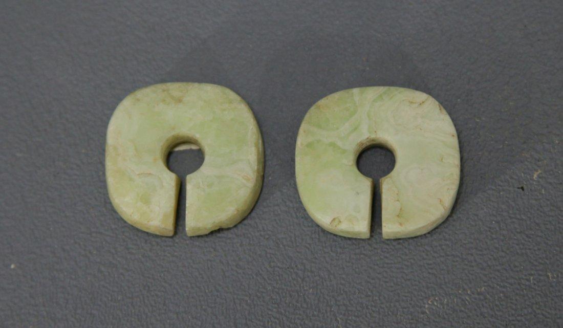 Pair of Green Jade Ear Clips