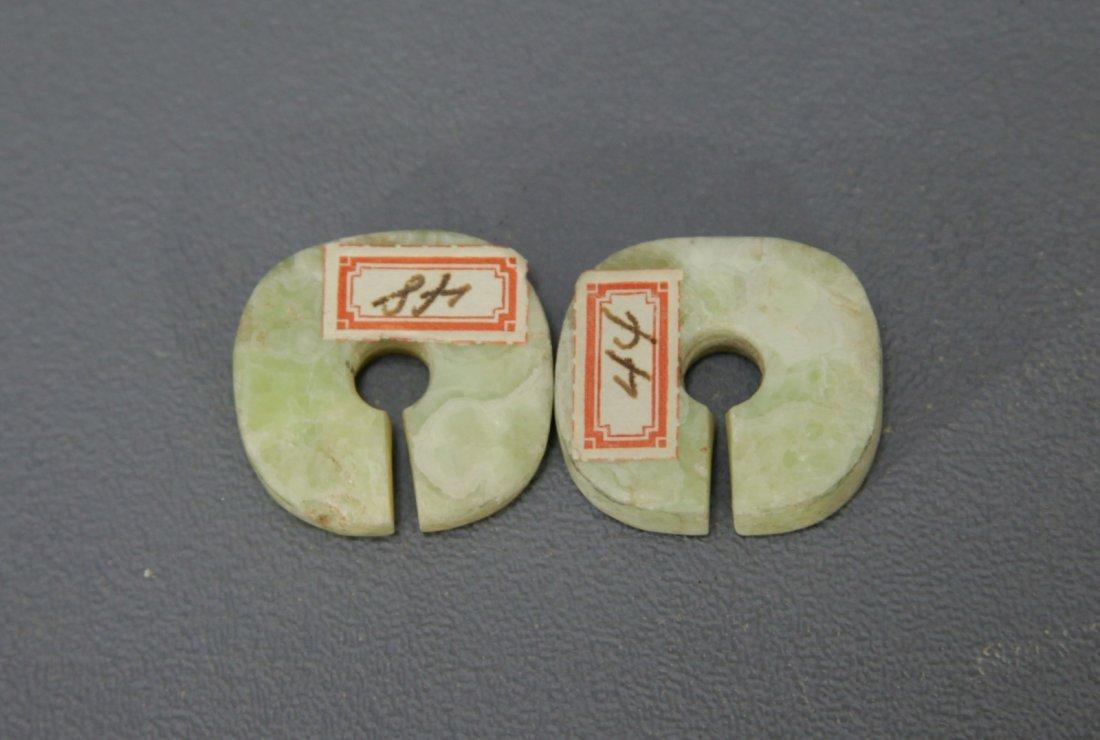 Pair of Green Jade Ear Clips - 2