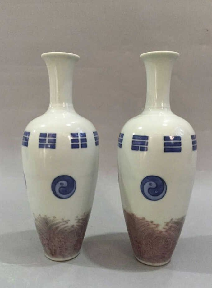 Pair of Chinese Blue/White Copper Red Vase