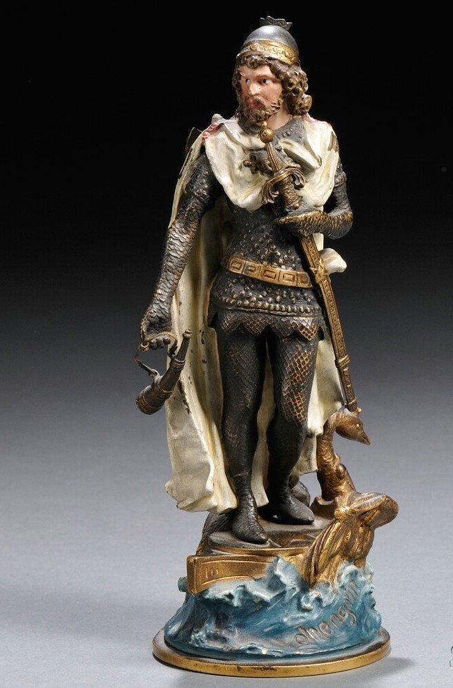 Austrian Bronze Figure of Lohengrin by Bergman