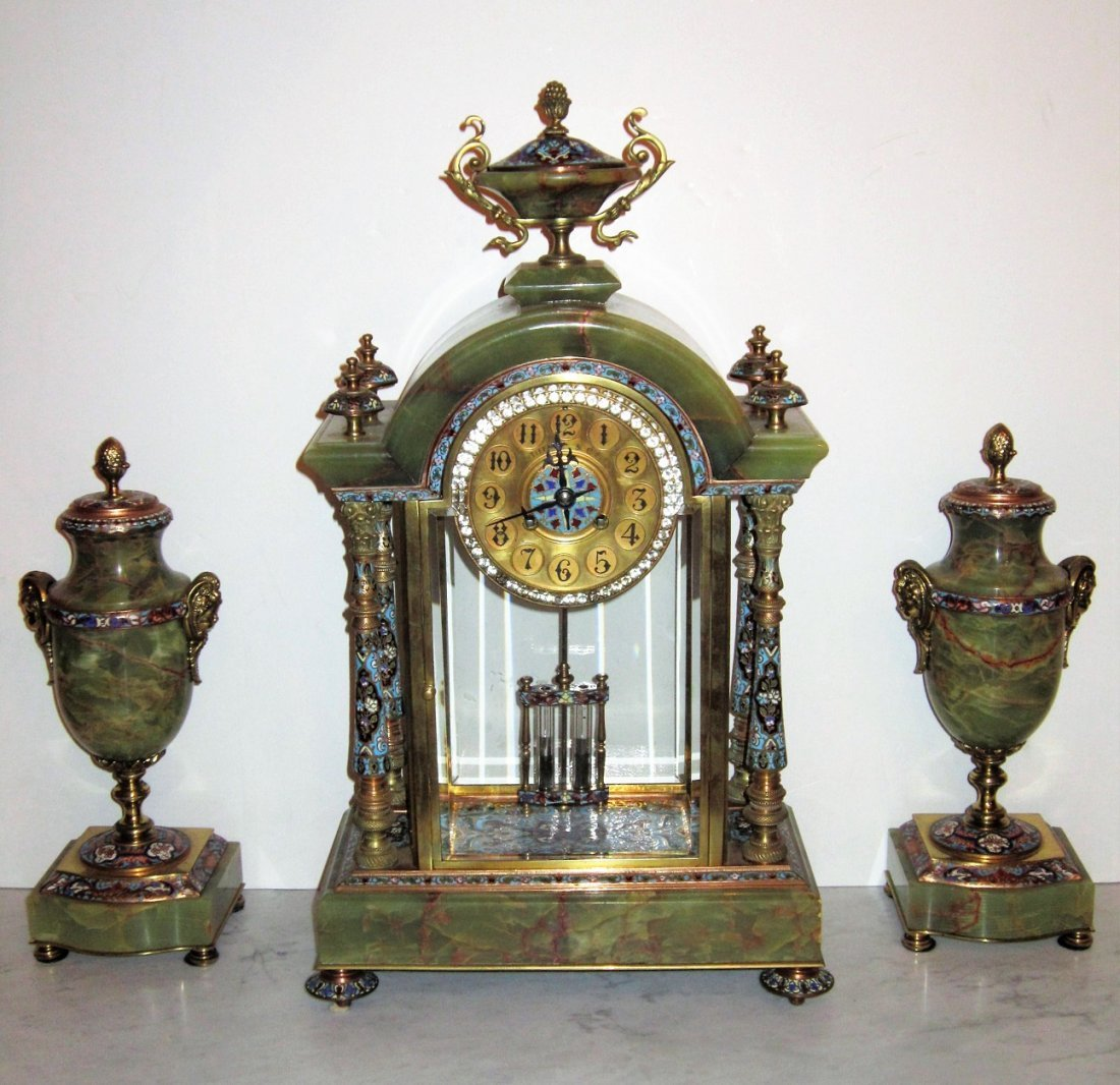 Beautiful 19C French Gilt Bronze Enamel Clock Set