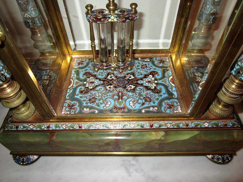 Beautiful 19C French Gilt Bronze Enamel Clock Set - 2
