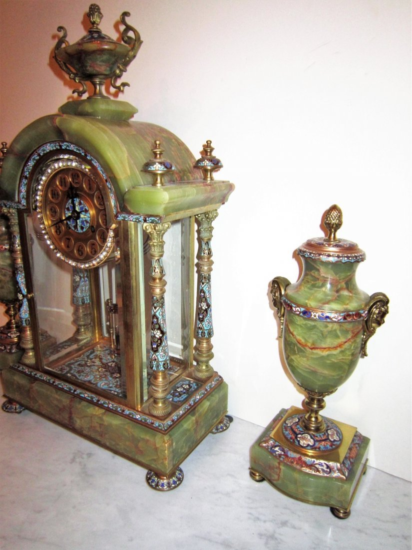 Beautiful 19C French Gilt Bronze Enamel Clock Set - 4