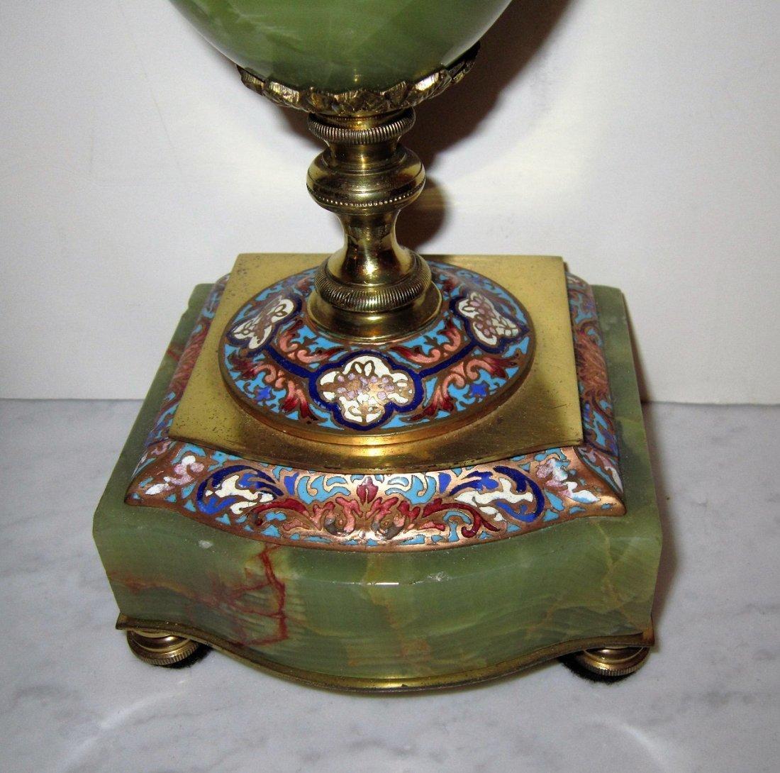 Beautiful 19C French Gilt Bronze Enamel Clock Set - 6