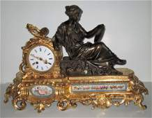 French Bronze Clock with Porcelain Plaques
