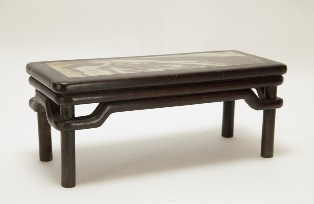 Chinese Qing Dynasty Zi Tan Wood w/ Marble Top