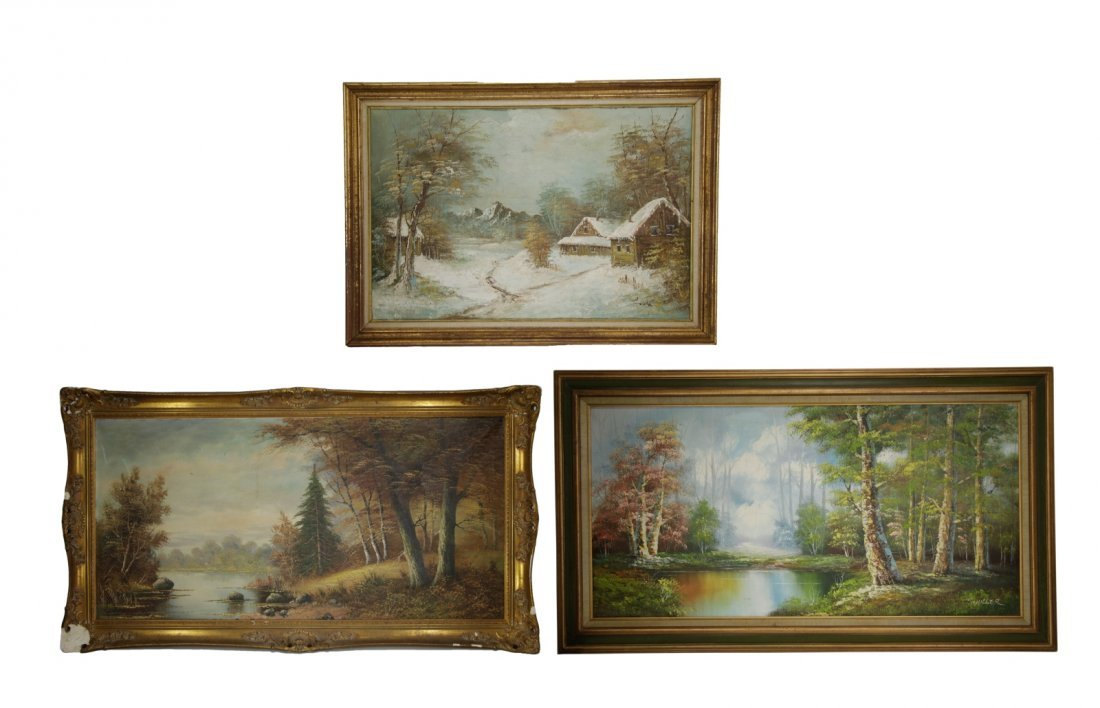 3 Pieces of Oil on Canvas Painting of Landscape