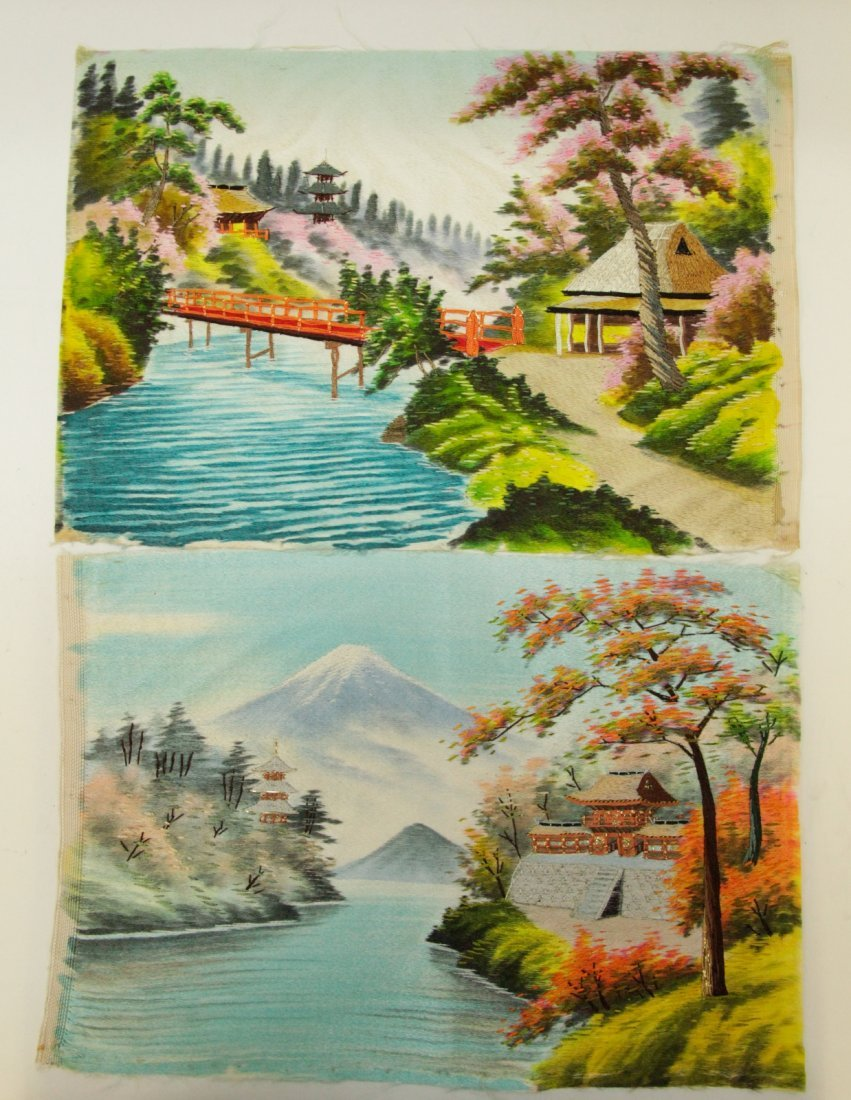 Two Pieces of Japanese Silk Embroidery