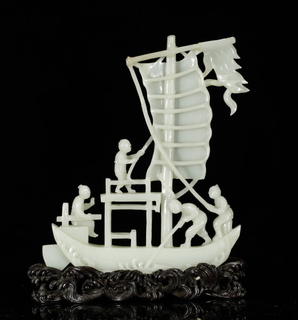 Chinese 19th C. White Jade Carving of a Boat