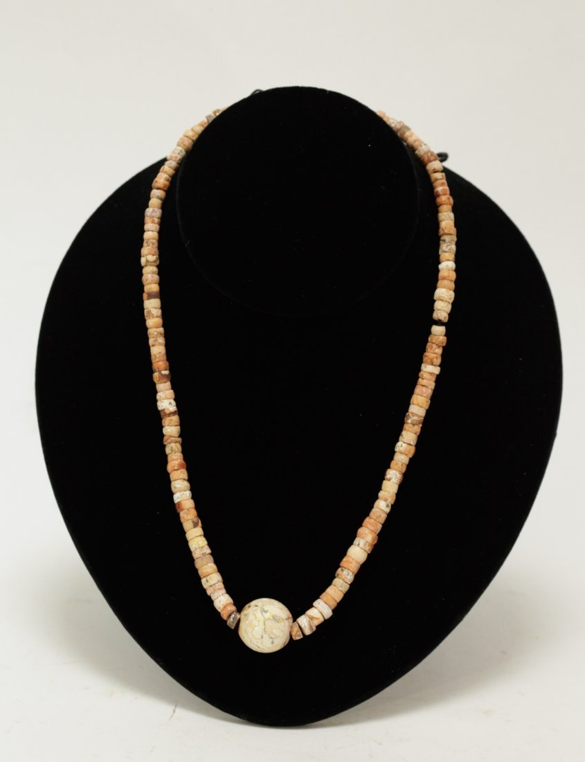 Ancient Calcified Agate Bead Necklace w/Round Bead