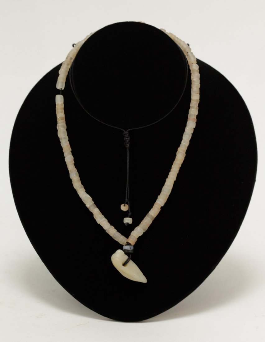 Ancient Crystal Bead Necklace w/ Carved White Jade