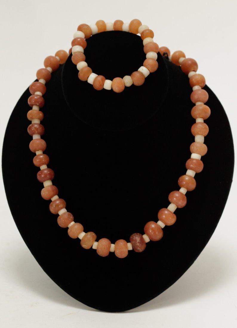 Ancient  Agate Quartz Bead Necklace and Bracelet