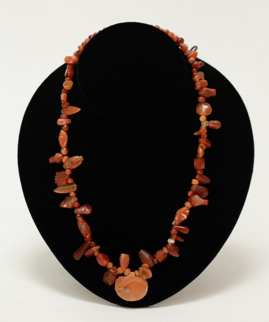 Ancient Carved Agate Bead Necklace
