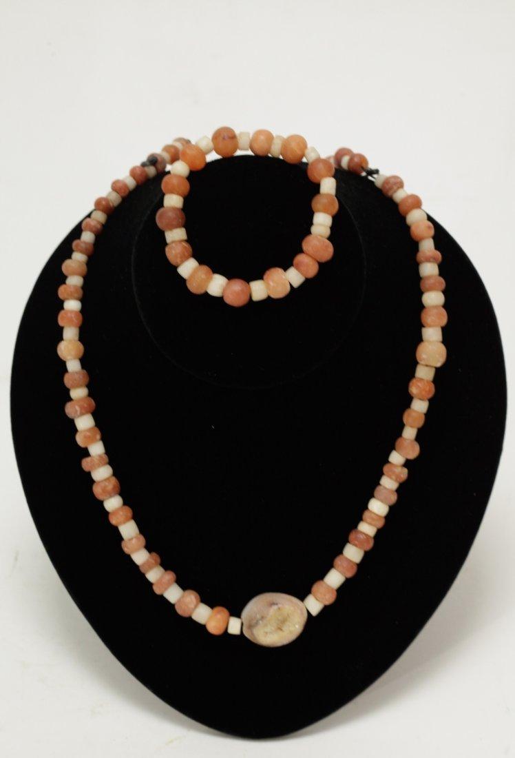Set of Red/White Ancient Agate & Quartz Necklace