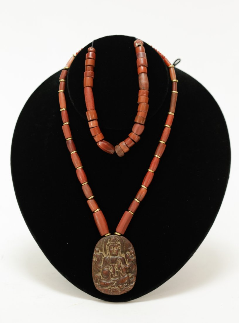 Set of Ancient Red Jasper Stone and Agate Necklace