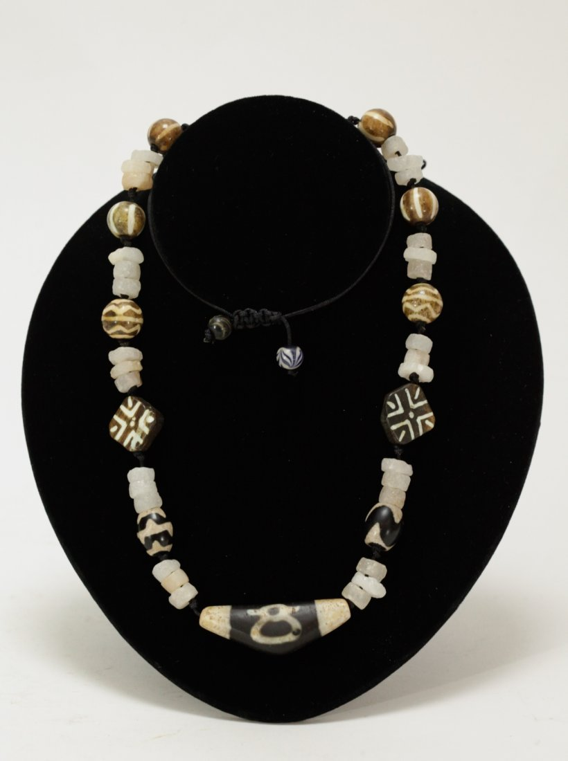 Necklace of Mixed Antique Pumtek and Crystal Bead