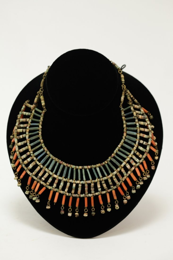 Ancient Egyptian Necklace of Faience and Red Agate