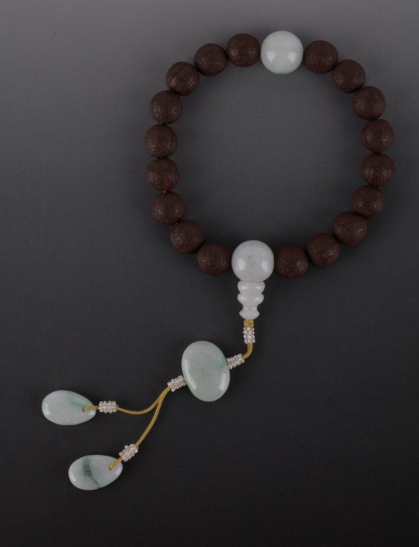 Chinese Wood & Jadeite Prayer Beads