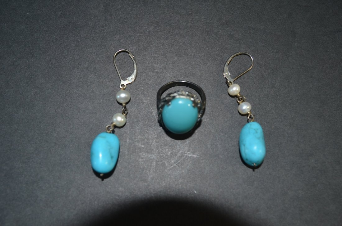 Set of Turquoise Ring&Ear Ring with Pearl,925