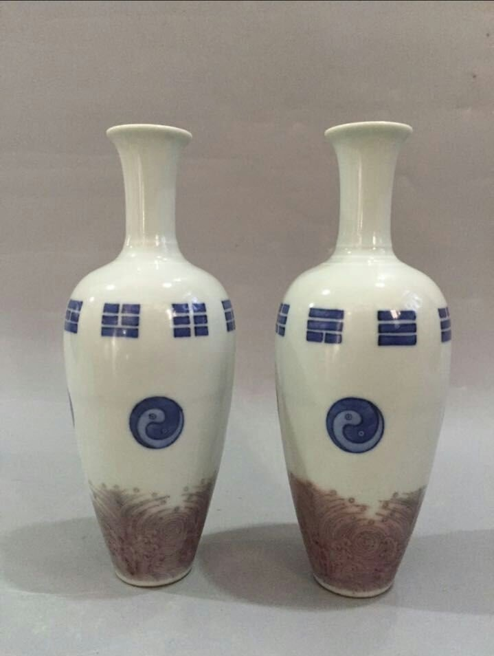 Pr of Chinese Blue/White Copper Red Porcelain Vase