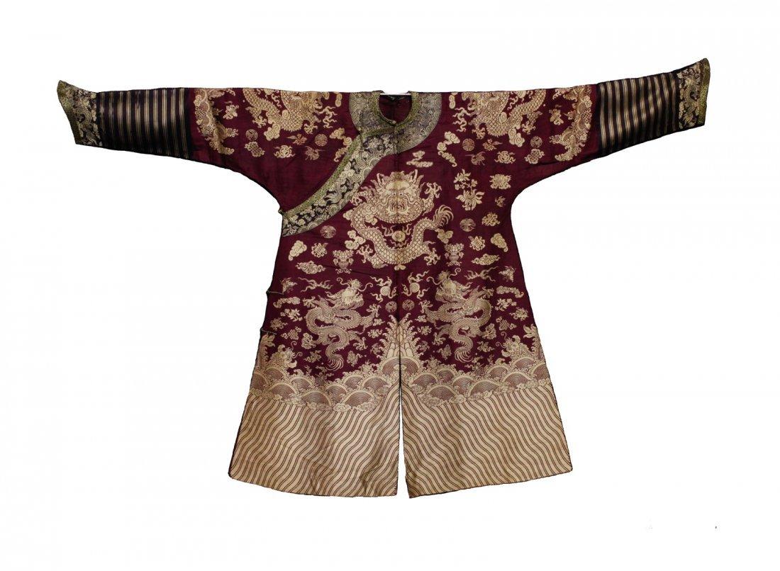 18/19th C. Chinese Burgundy Five Paw Dragon Robe