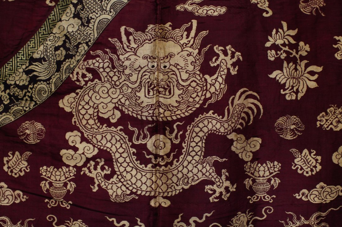 18/19th C. Chinese Burgundy Five Paw Dragon Robe - 2