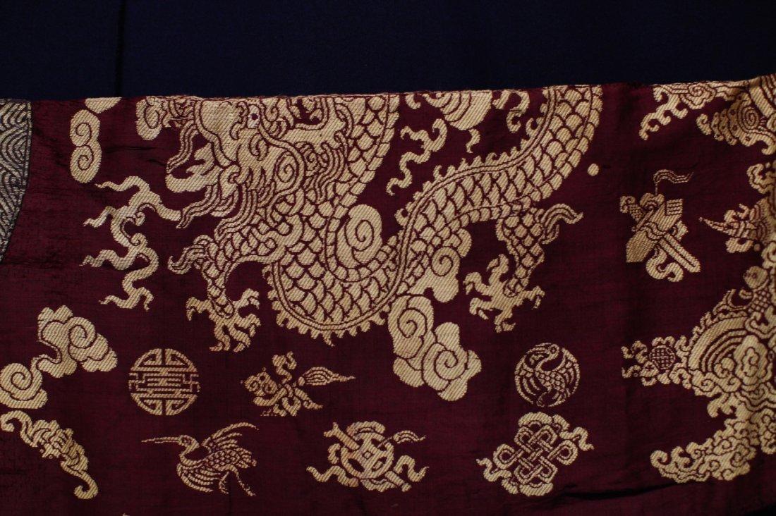 18/19th C. Chinese Burgundy Five Paw Dragon Robe - 3