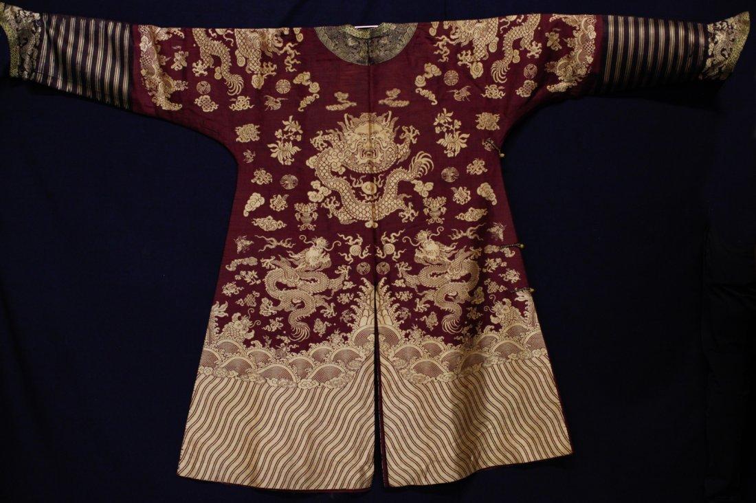 18/19th C. Chinese Burgundy Five Paw Dragon Robe - 5