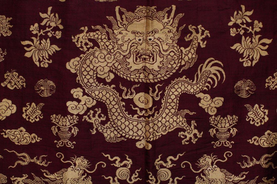 18/19th C. Chinese Burgundy Five Paw Dragon Robe - 6