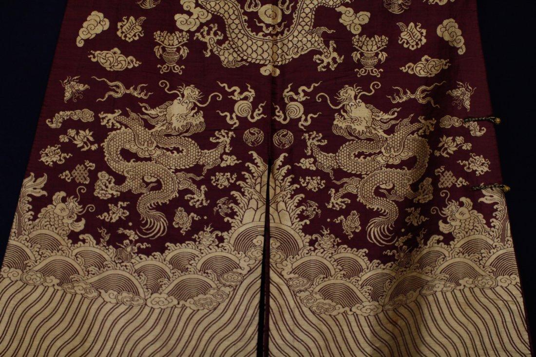 18/19th C. Chinese Burgundy Five Paw Dragon Robe - 7