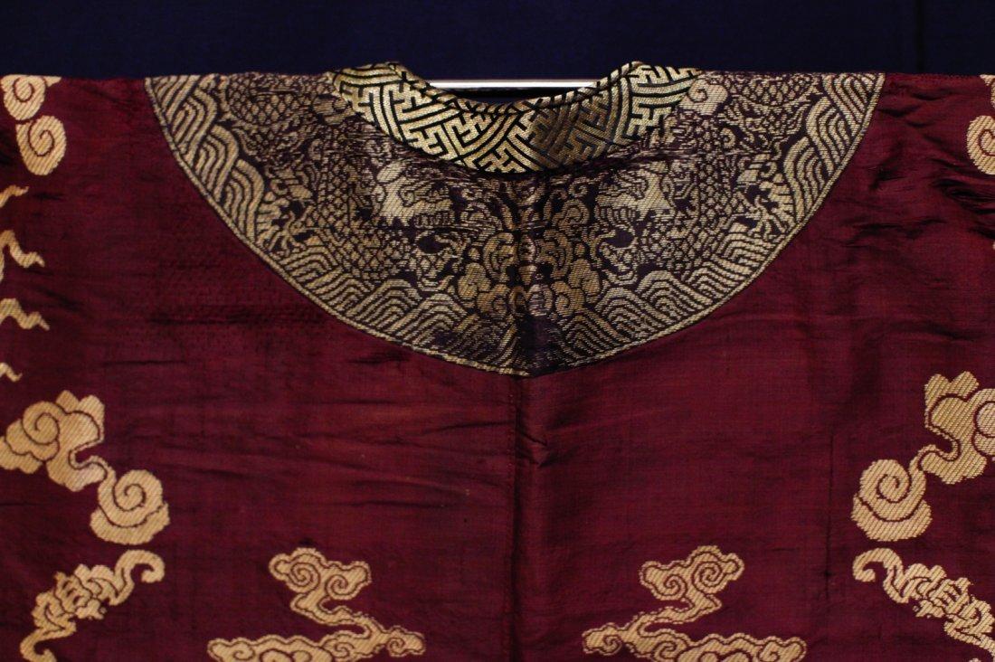 18/19th C. Chinese Burgundy Five Paw Dragon Robe - 8