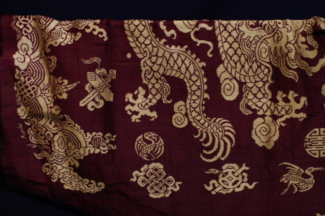 18/19th C. Chinese Burgundy Five Paw Dragon Robe - 9