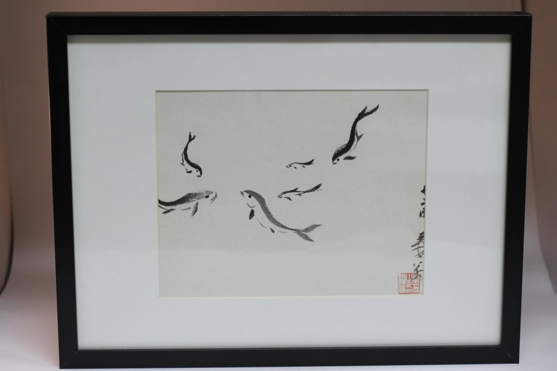 Chinese Ink Painting on Paper with Frame