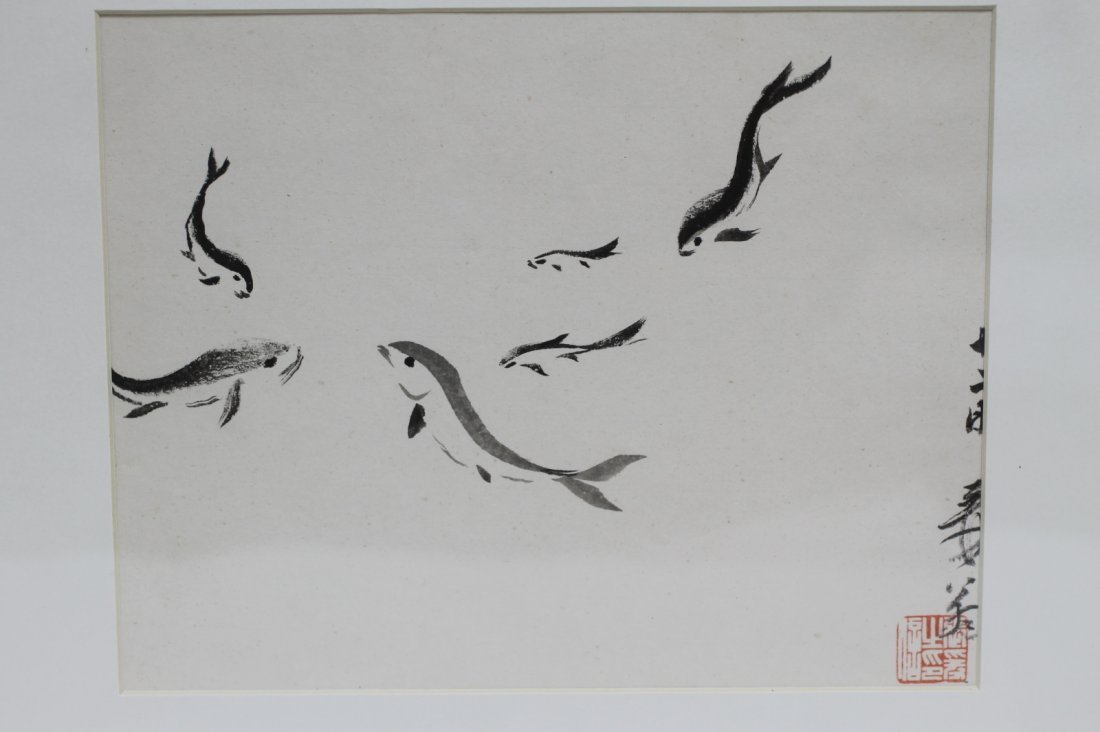 Chinese Ink Painting on Paper with Frame - 3