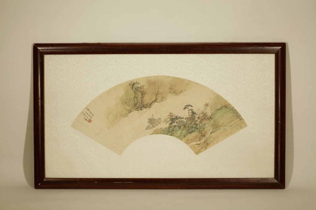 Chinese Painting of Fan, Marked