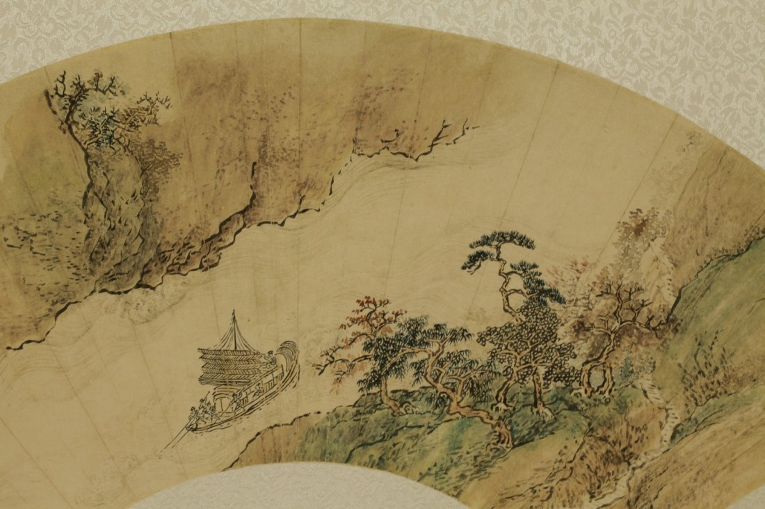 Chinese Painting of Fan, Marked - 4