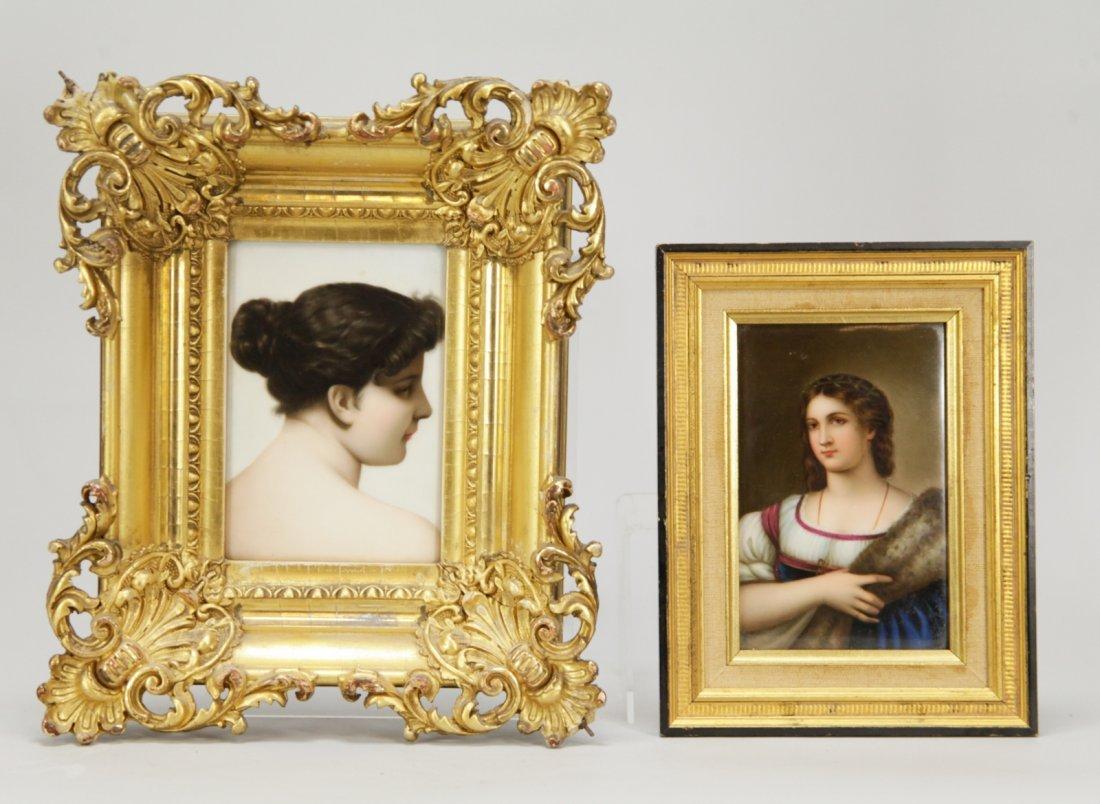 2 European Porcelain Hand Painted Plaque of Woman