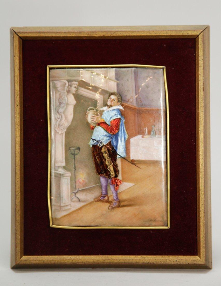 Limoges Enamel Plaque of Mosqotier