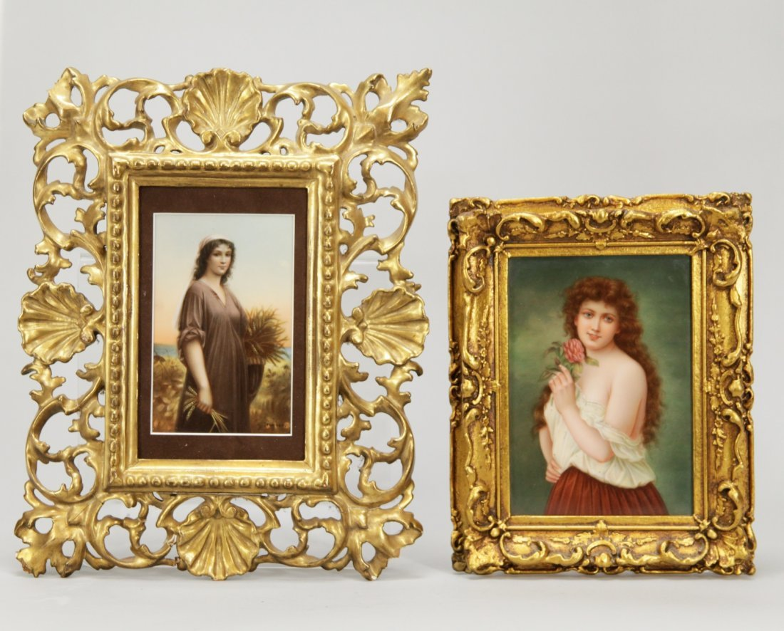 Two Porcelain Plaques of Semi Nude Girls and Ruth